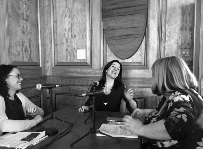 Montreal Mayor Valérie Plante talks to Anne-France Goldwater and Marie-Hélène Dubé.